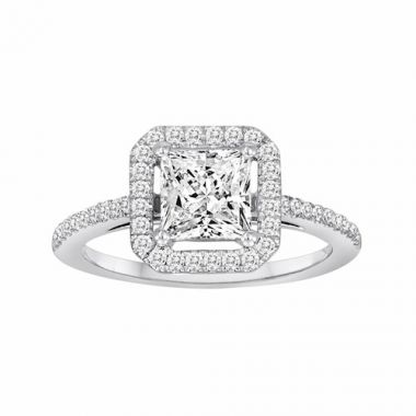 Diadori 18k White Gold Square Halo Diamond Engagement Ring