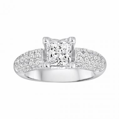 Diadori 18k White Gold Pave Diamond Engagement Ring