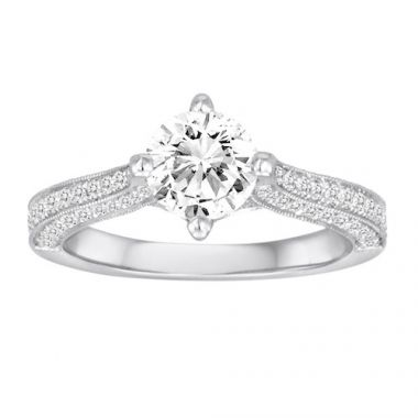 Diadori 18k White Gold Pave Diamond Engagement Ring