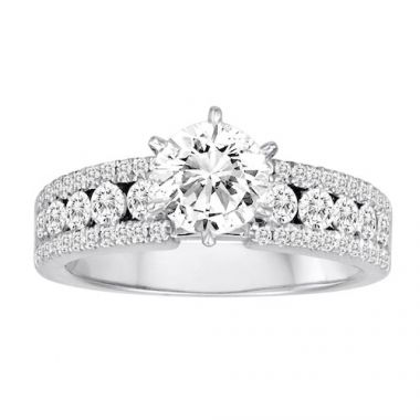 Diadori 18k White Gold Channel Set Diamond Engagement Ring
