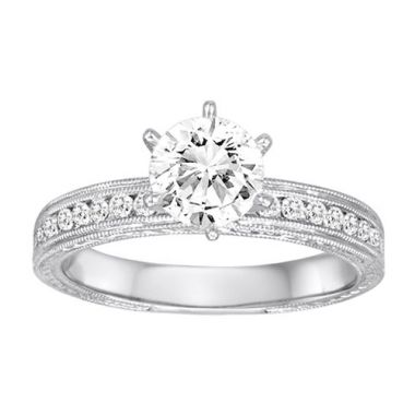 Diadori 18k White Gold Milgrain Detailed Diamond Engagement Ring
