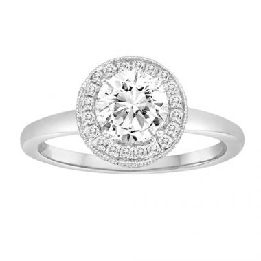 Diadori 18k White Gold Halo Diamond with Smooth Shank Engagement Ring