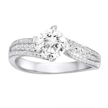Diadori 18k White Gold Concave Diamond Engagement Ring
