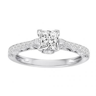 Diadori 18k White Gold Vintage Inspired Diamond Engagement Ring
