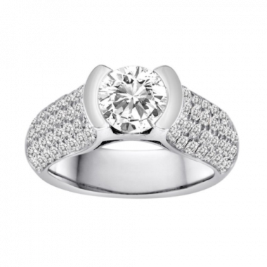 Diadori 18k White Gold Bezel Set Empress Diamond Engagement Ring