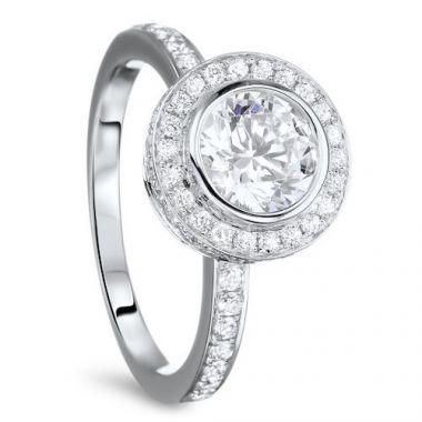 Diadori 18k White Gold Double Encrusted Halo Diamond Engagement Ring