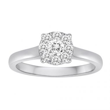 Diadori 18k White Gold Magic Cluster Diamond Engagement Ring