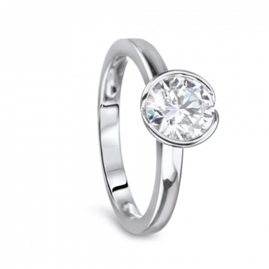 Diadori 18k White Gold Bezel Set Solitaire Diamond Engagement Ring