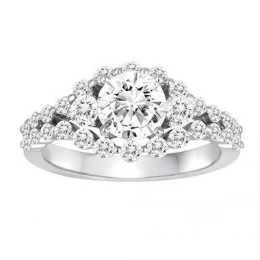 Diadori 18k White Gold Shared Prong Diamond Engagement Ring