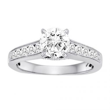 Diadori 18k White Gold Cathedral Diamond Engagement Ring