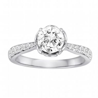 Diadori 18k White Gold Flower Bloom Diamond Engagement Ring
