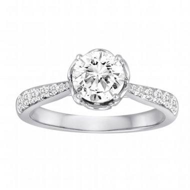 Diadori 18k White Gold Flower Bloom Diamond Engagement Ring