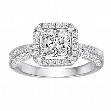 Diadori 18k White Gold Pave Square Halo Diamond Engagement Ring