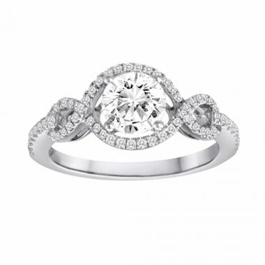 Diadori 18k White Gold Braided Diamond Engagement Ring