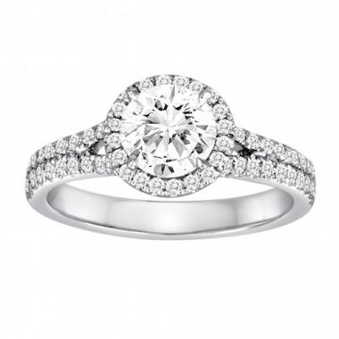 Diadori 18k White Gold Double Band Halo Diamond Engagement Ring
