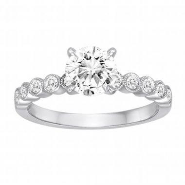 Diadori 18k White Gold Shared Prong Diamond Engagement Ring