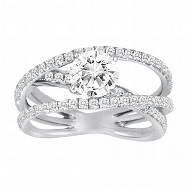 Diadori 18k White Gold Criss Cross Diamond Engagement Ring