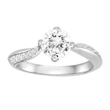 Diadori 18k White Gold Swirl Diamond Engagement Ring