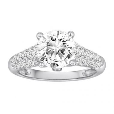 Diadori 18k White Gold Pave Set Diamond Engagement Ring