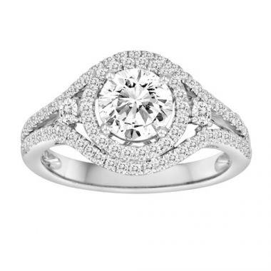 Diadori 18k White Gold Double Circle Diamond Engagement Ring