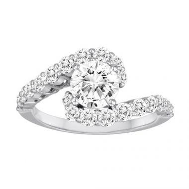 Diadori 18k White Gold Prong Set Swirl Diamond Engagement Ring