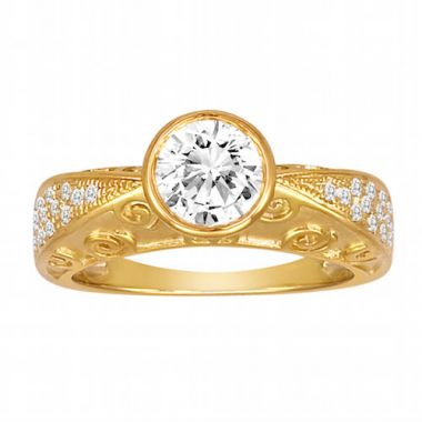 Diadori 18k Yellow Gold Exotic Diamond Engagement Ring