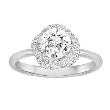 Diadori 18k White Gold Flower Halo Diamond Engagement Ring