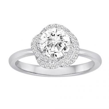 Diadori 18k White Gold Flower Halo Diamond Engagement Ring