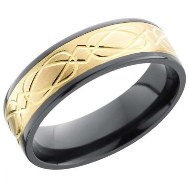 Lashbrook Black & Yellow Zirconium 7mm Men's Wedding Band