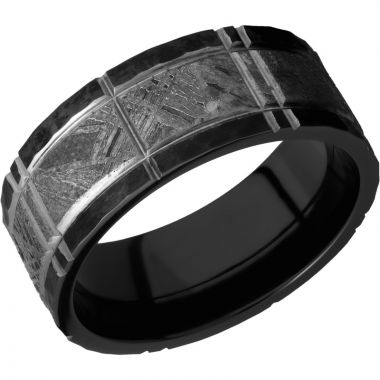 Lashbrook Black Zirconium Meteorite 8mm Men's Wedding Band