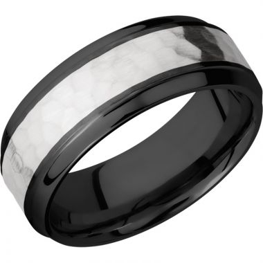 Lashbrook Black & White Zirconium 8mm Men's Wedding Band