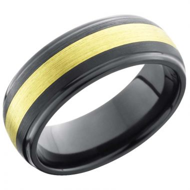 Lashbrook Black & Yellow Zirconium 8mm Men's Wedding Band