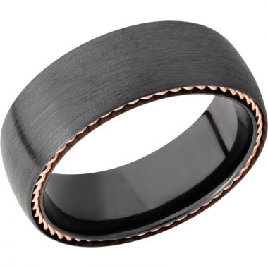 Lashbrook Black & Rose Zirconium 8mm Men's Wedding Band