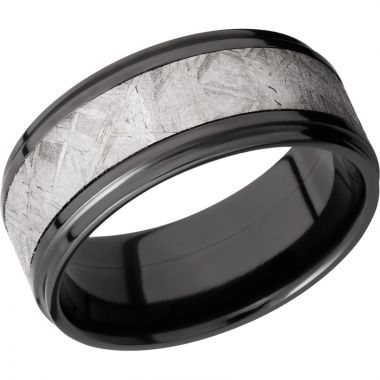 Lashbrook Black Zirconium Meteorite 9mm Men's Wedding Band