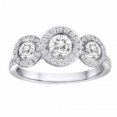 Diadori 18k White Gold Three Stone Halo Diamond Engagement Ring