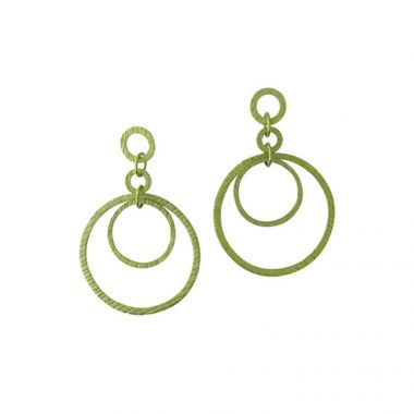 Diadori 14k Yellow Gold Hanging Hoop Earrings